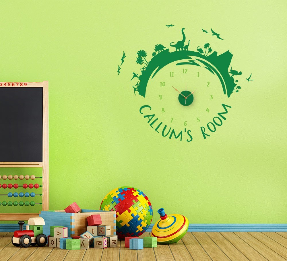 Personalised Dinosaur Wall Clock Sticker