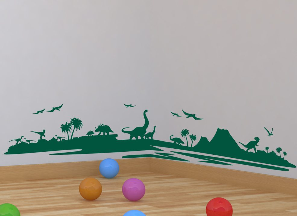 Dinosaur Wall Sticker - Dino Landscape Boys Wall Sticker