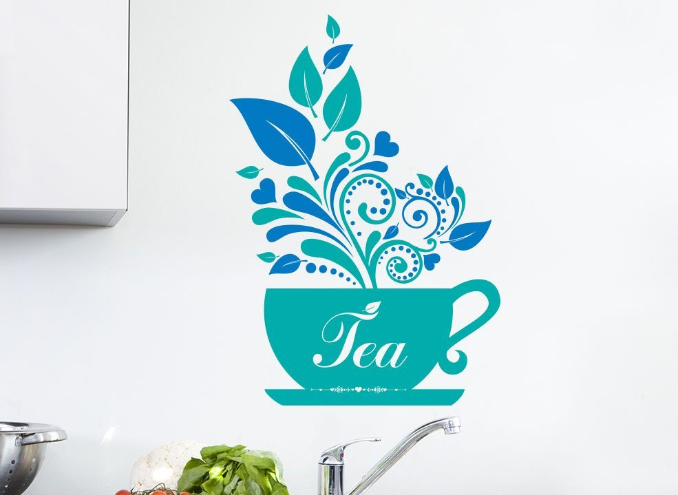 Elegant Cup Of Tea Wall Art Sticker