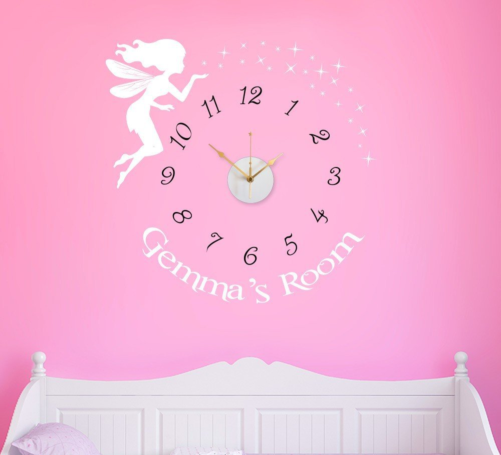 Personalised Fairy Wall Clock Sticker with sweep motion