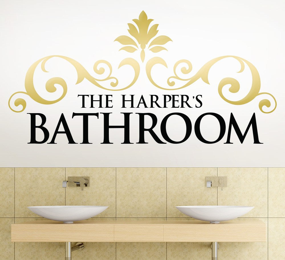 Classic Scroll Bathroom Wall Art Sticker
