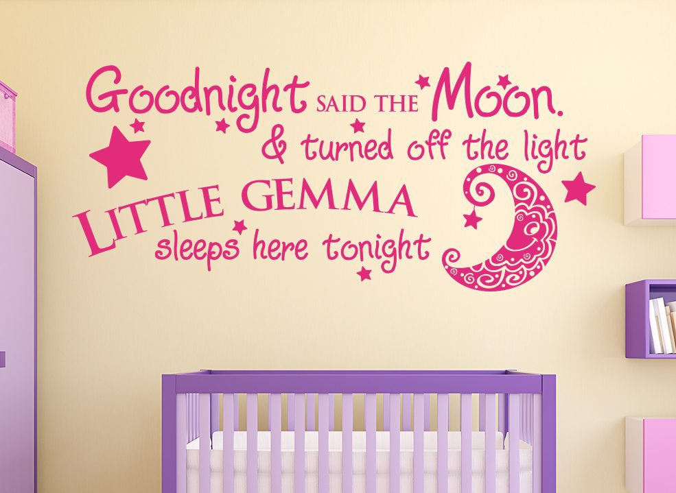 Goodnight Said The Moon Personalised Wall Sticker