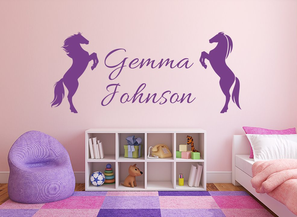 Horses Rearing Personalised Girls Wall Art Sticker