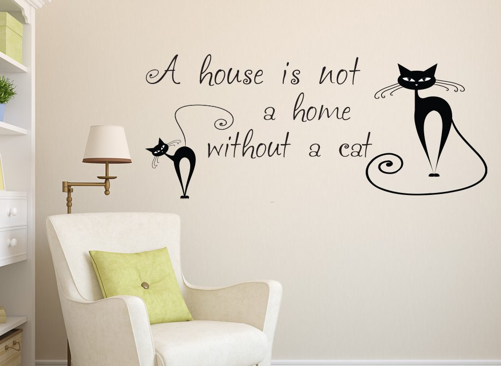 house is not a home cat wall art sticker – smarty walls
