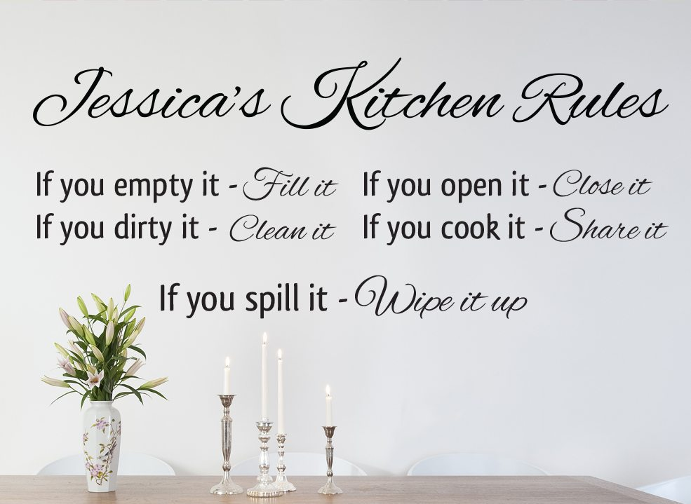 Kitchen Rules Wall Art Sticker