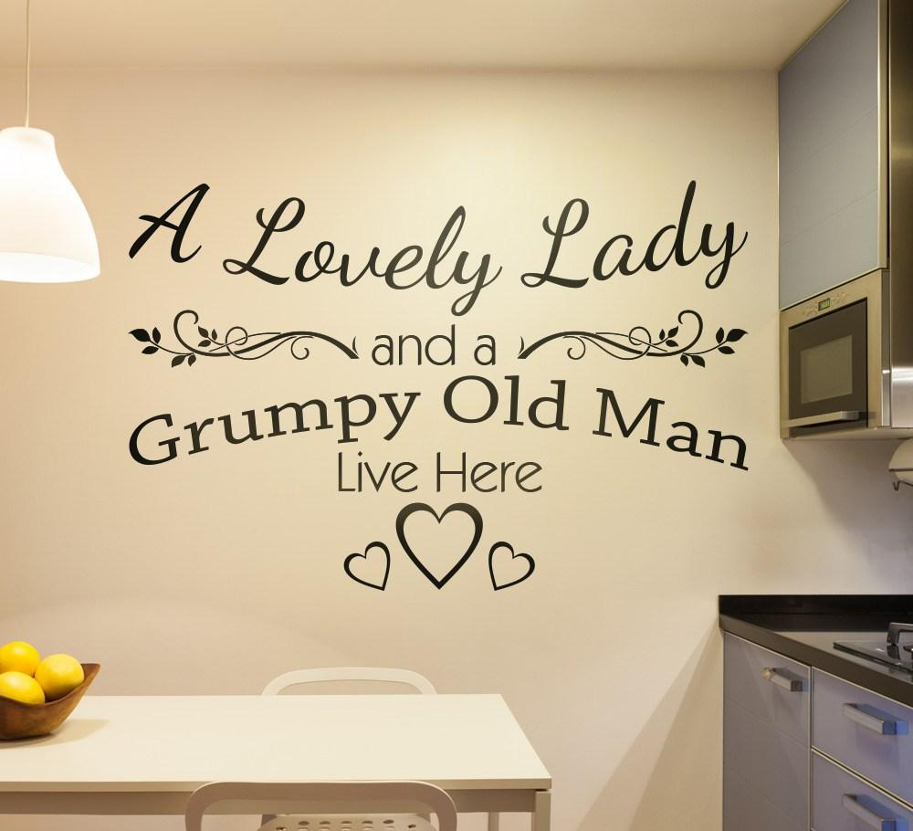 A Lovely Lady and Grumpy Old Man Live Here Wall Sticker