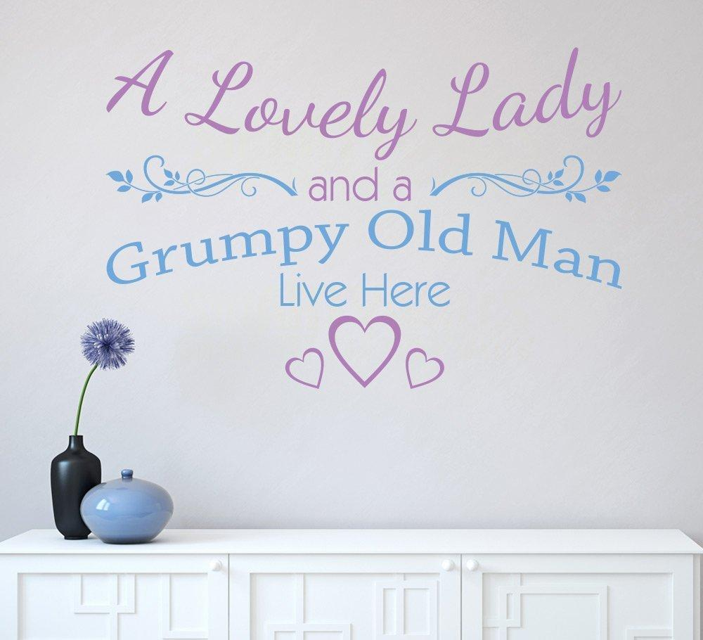 A lovely lady and a grumpy old man live here wall sticker decal