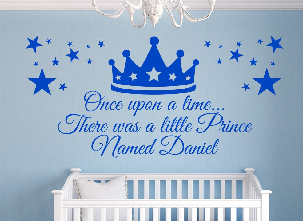 Prince Crown Boys Wall Art Sticker Personalised