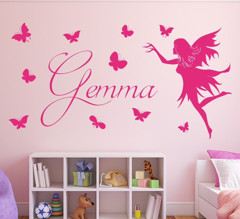 Butterfly Fairy Girls Wall Art Sticker Personalised Smarty Walls - Wall stickers for bedrooms interior design