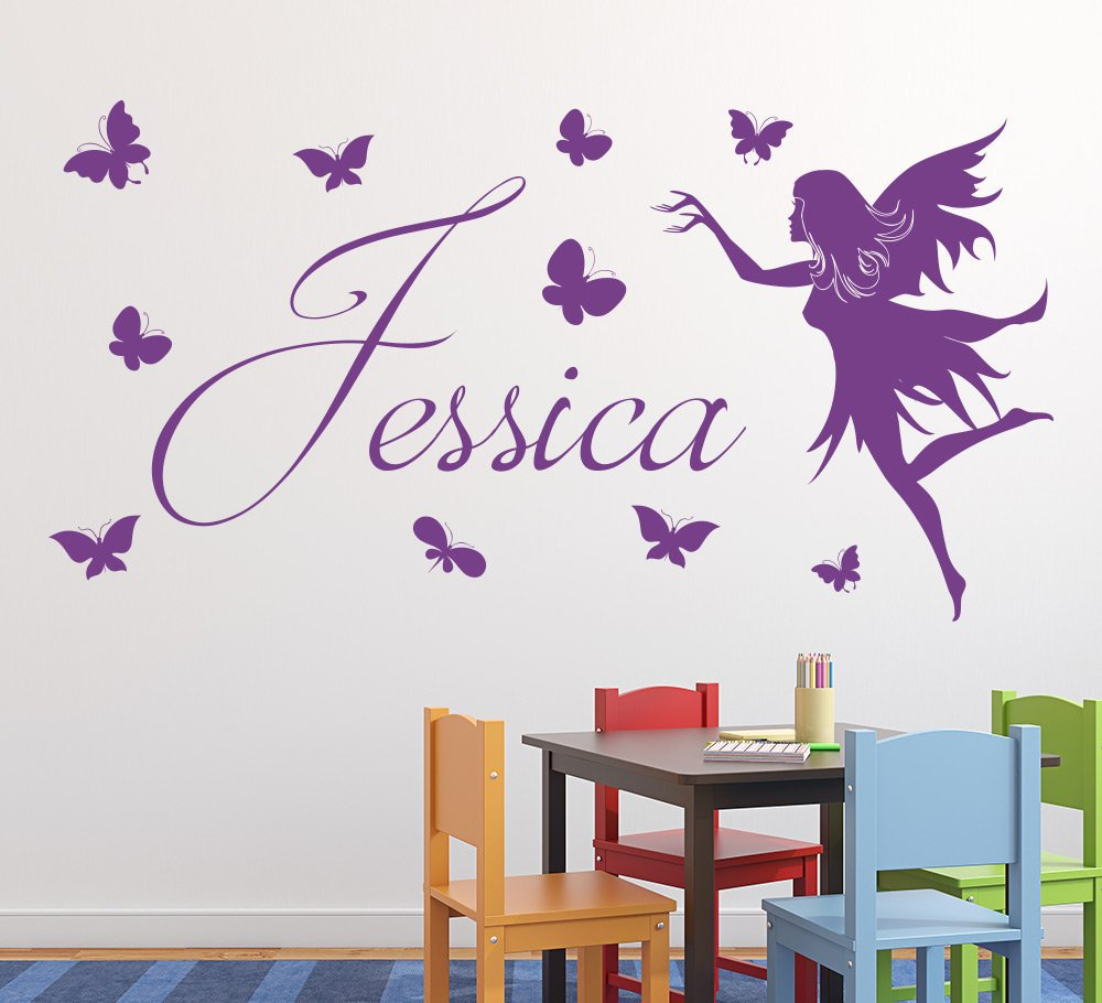 Butterfly Fairy Girls Wall Art Sticker Personalised