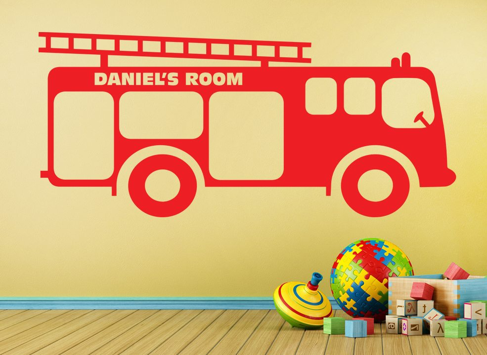 Fire Engine Truck Boys Wall Art Sticker Personalised – Smarty Walls