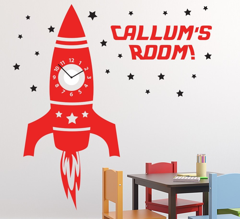 Personalised Rocket Wall Clock Sticker with sweep motion