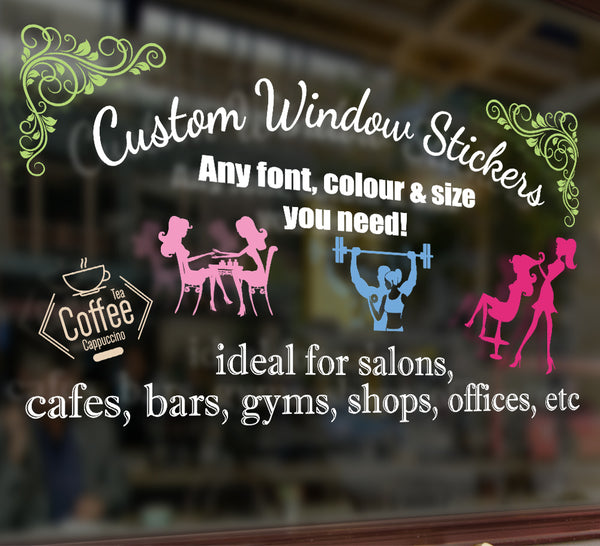 Custom window decals personalised shop window stickers smarty walls