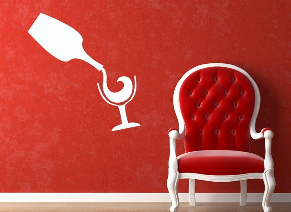 Wine Bottle and Glass Wall Art Sticker
