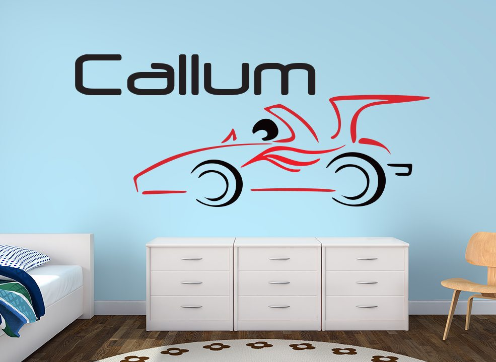 Fast Car Kids Personalised Wall Art Sticker