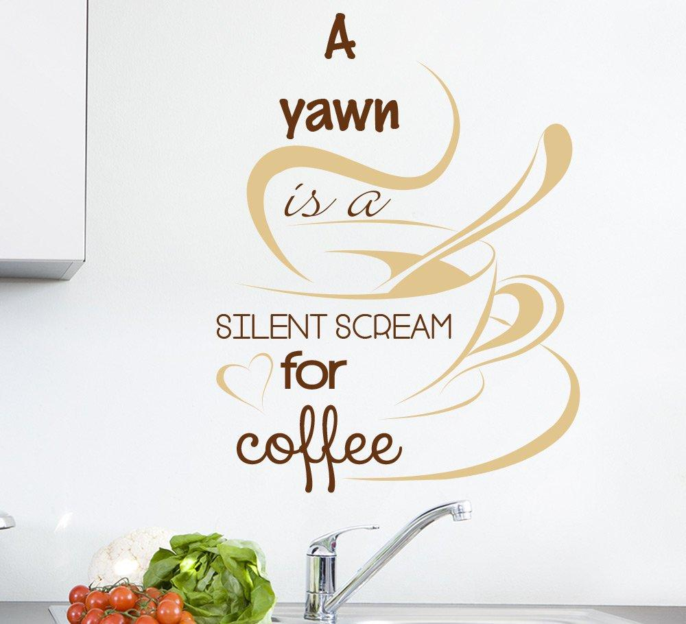 a yawn is a silent scream for coffee wall sticker, cafe wall decals, kitchen wall stickers,