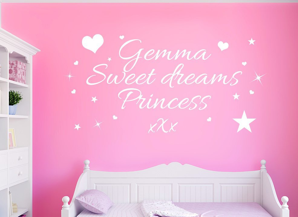 Sweet Dreams Princess Personalised Wall Art Sticker