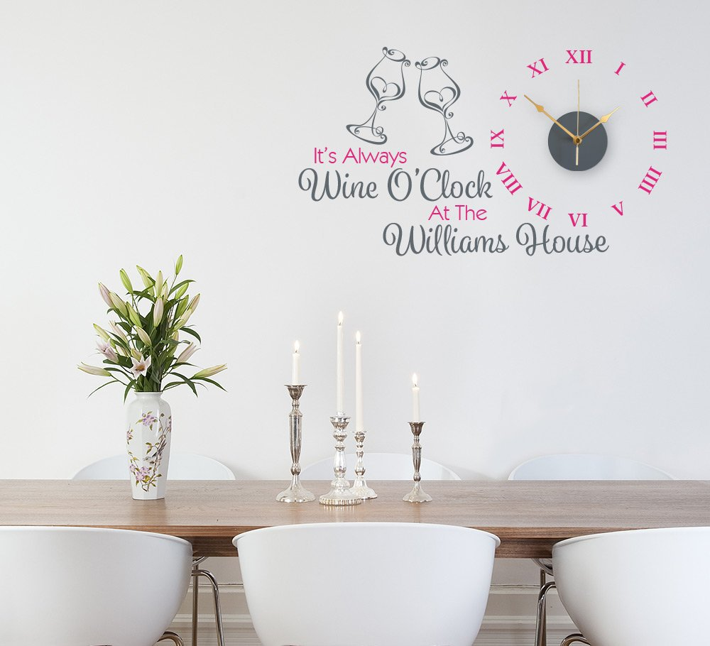 Personalised Wine Kitchen Wall Clock Sticker