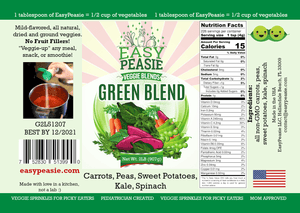 Product Label: Green Blend, EasyPeasie Dried Veggie Blends. Unique blend of non-GMO vegetable powders (carrots, peas, kale, spinach, sweet potatoes).