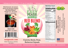 Product Label: Red Blend, EasyPeasie Dried Veggie Blends. Unique blend of non-GMO vegetable powders (carrots, beets, peas, butternut squash).
