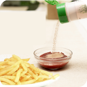 Sprinkle EasyPeasie Veggie Blends into ketchup for an easy veggie hack for picky eaters