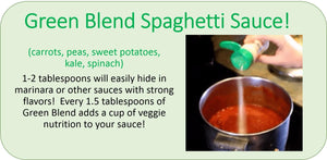 Recipe - Easy Peasie Green Veggie Blend (carrots, peas, kale, spinach, sweet potatoes) and Spaghetti