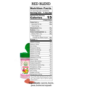 Nutrition Label for Red Blend, EasyPeasie Dried and Ground Vegetables