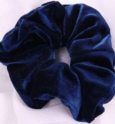 Navy Velvet Scrunchie - Large