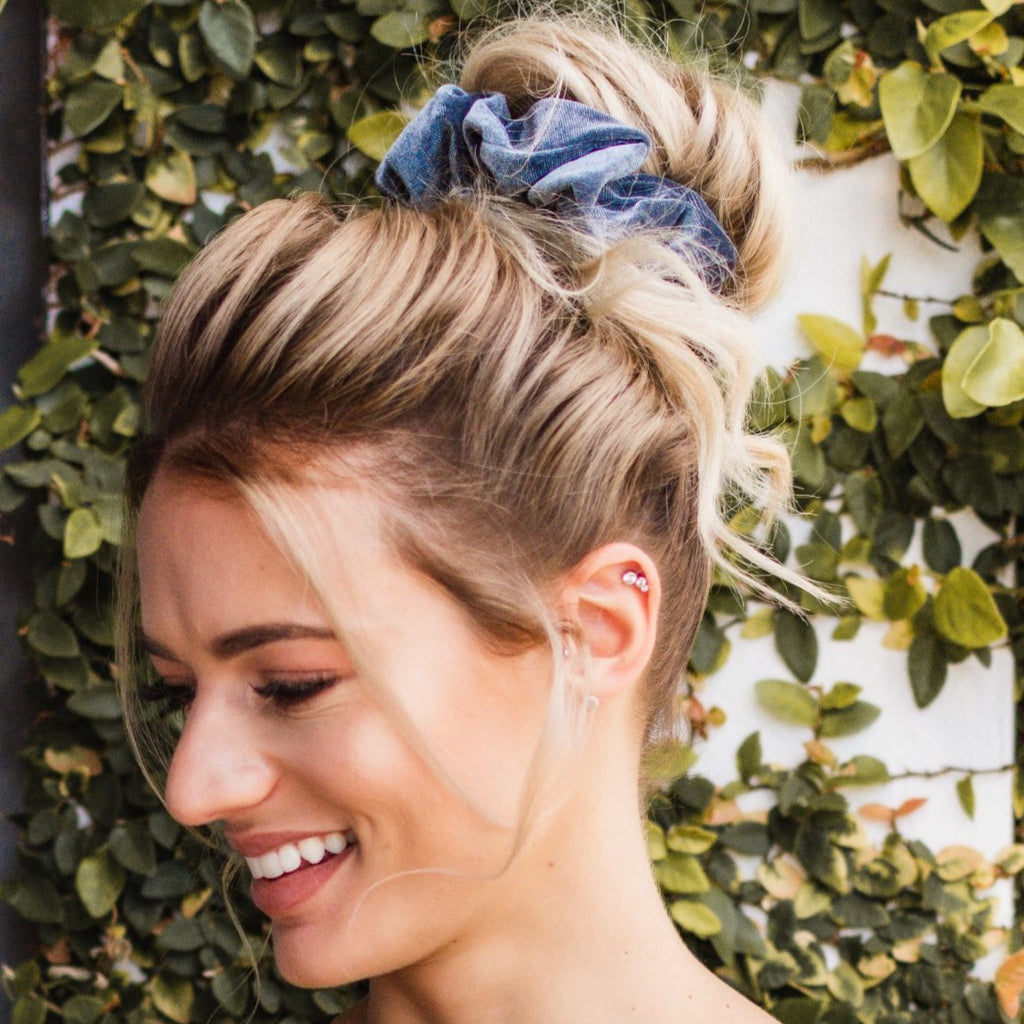Blue Grey Velvet Scrunchie - Large
