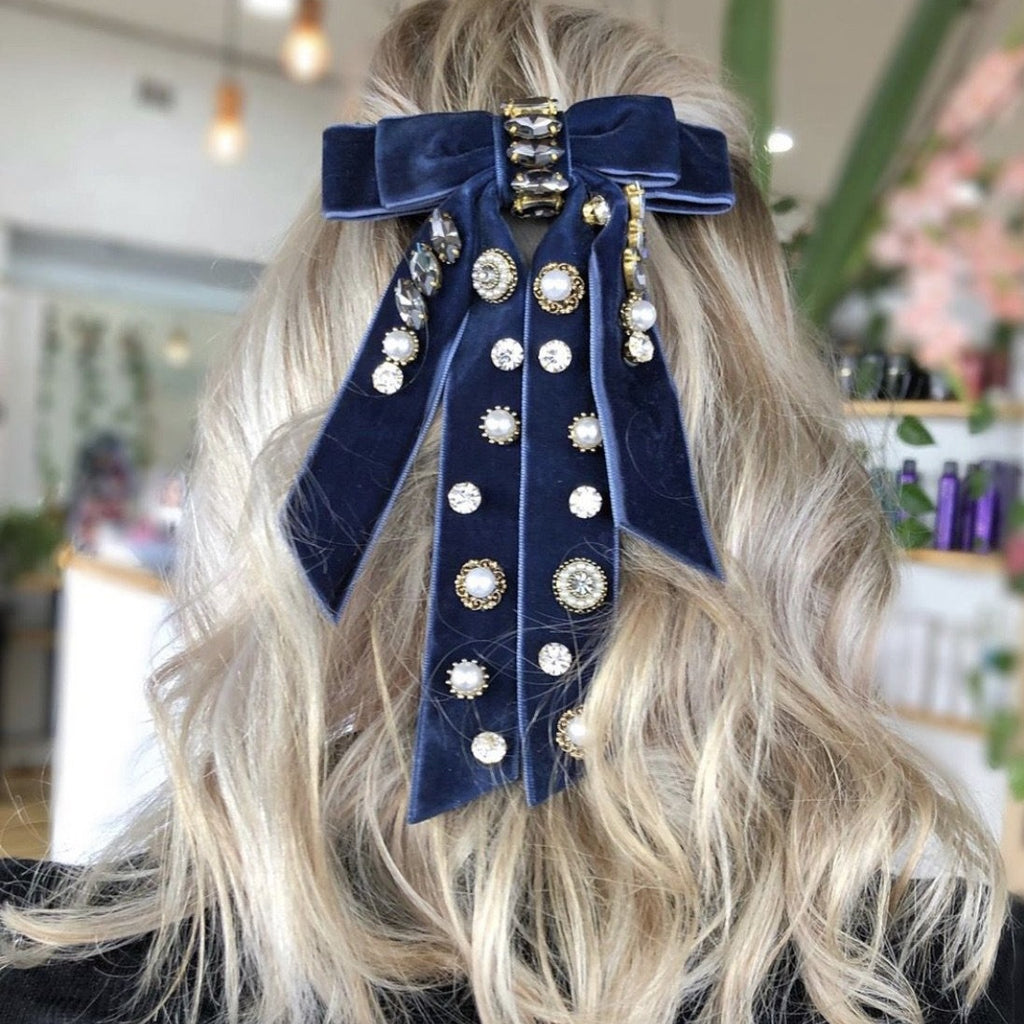 Jewelled Velvet Bow - Royal Blue