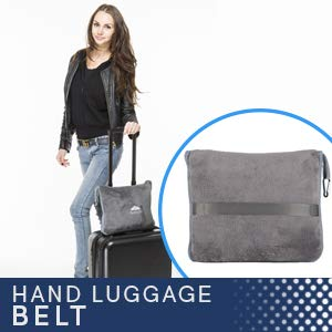 BlueHills Premium Soft Long Travel Blanket Pillow for Tall Airplane Flight Blanket Throw in Soft Bag case with Hand Luggage Belt & Backpack Clip Compact Pack Large Blanket Grey Gray T052
