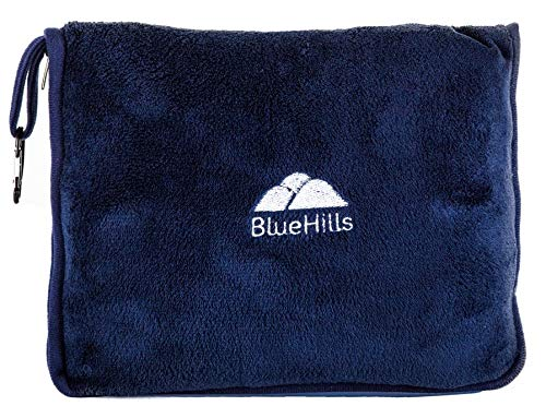BlueHills Premium Memory Foam Neck Travel Twist Airplane Pillow in Super Soft Velvet Cover & Travel Accessories in Carry case Bag with Hand Luggage Belt and Carabiner Navy (NeckPillow-Navy)