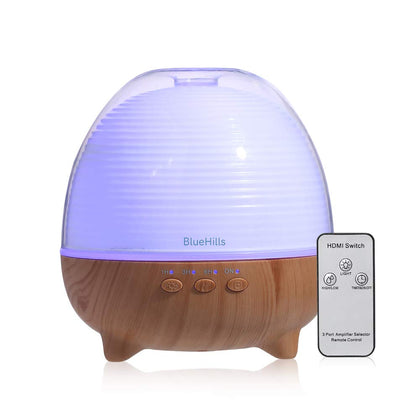 BlueHills Premium 1000ML Large XL Essential Oil Diffuser with Remote Humidifier for Large Room Home Long Run Time Huge Coverage Area Lights High Mist Output Extra Large Capacity Cute Wood Grain N3