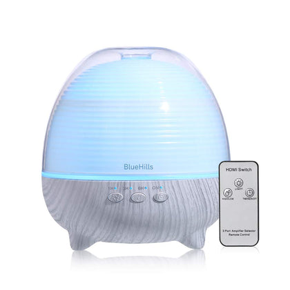 BlueHills Premium Essential Oil Diffuser with Remote Cute Aromatherapy Humidifier Large Capacity Coverage Area for Home Room Office Long 12 hour Run Timer Lights White Wood Grain-S01-600ML