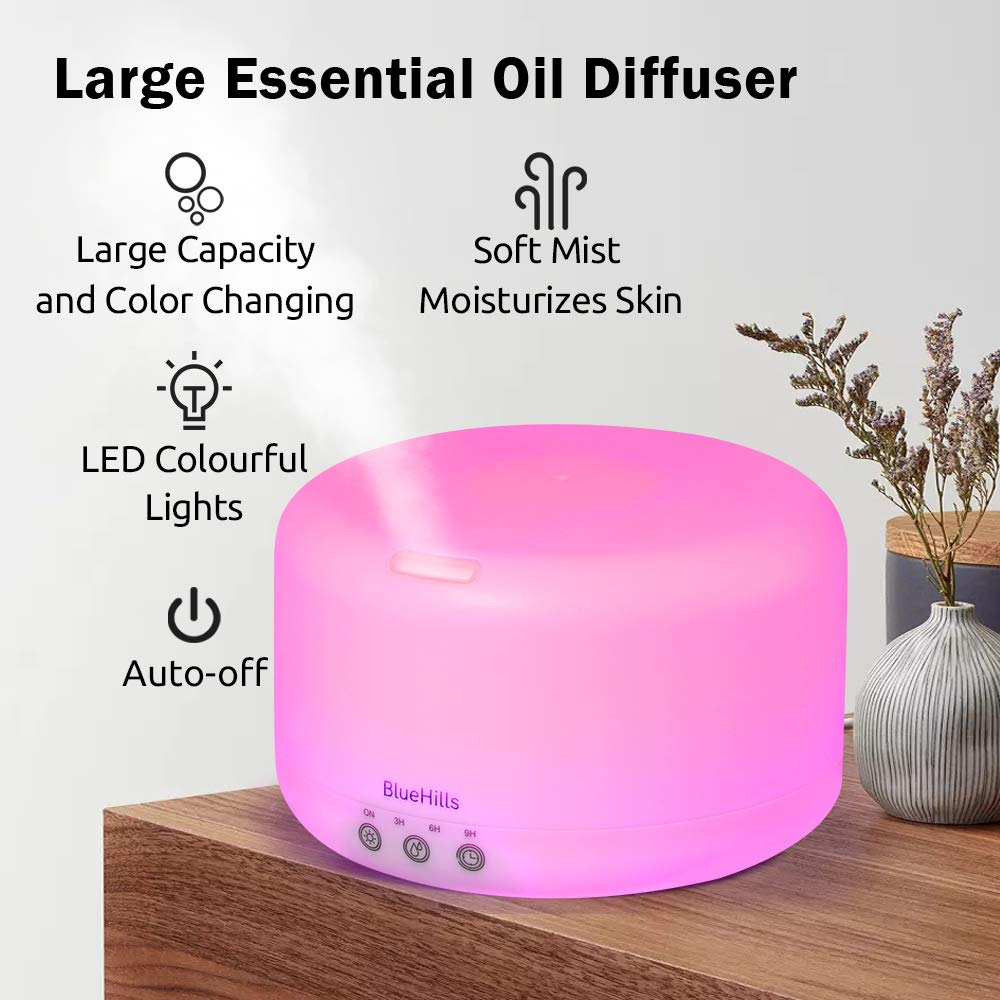 BlueHills Premium Large XL Essential Oil Diffuser Aromatherapy Humidifier for Large Room Home Long Run Time Huge Coverage Area Mood Lights Extra Large Capacity