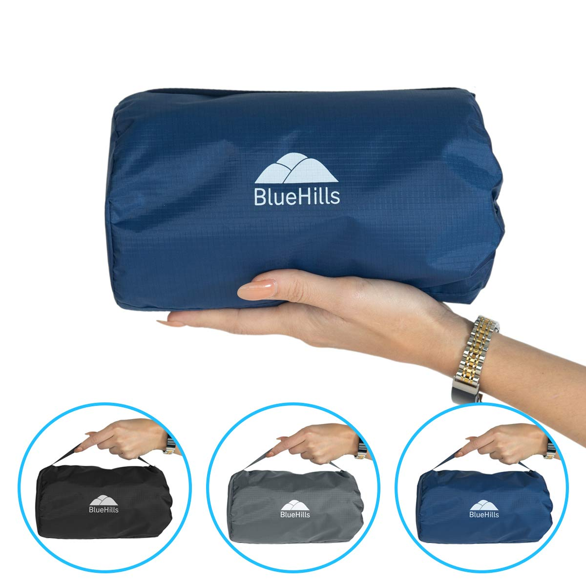 BlueHills Ultra Compact Travel Blanket - Navy Blue