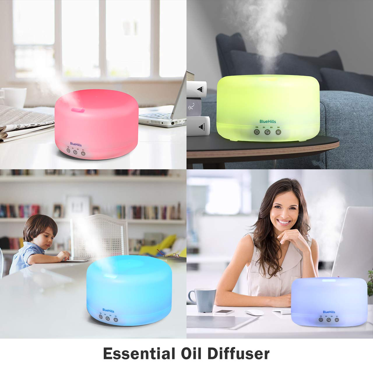 BlueHills Premium 1000 ML XL Essential Oil Diffuser Aromatherapy Humidifier with Remote for Large Room Home 18 Hour Run Huge Coverage Area 1 Liter Mood Lights Extra Large Capacity White D001
