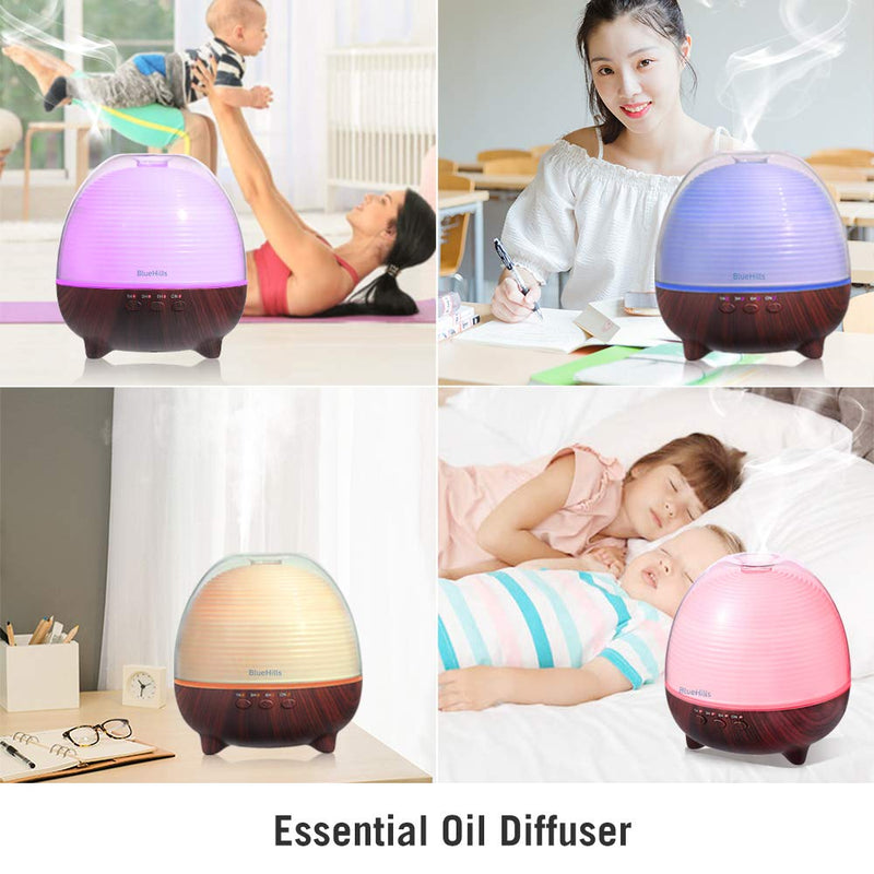 BlueHills 600 ML Premium Essential Oil Diffuser with Remote and Timer Large Capacity - Dark Wood Grain