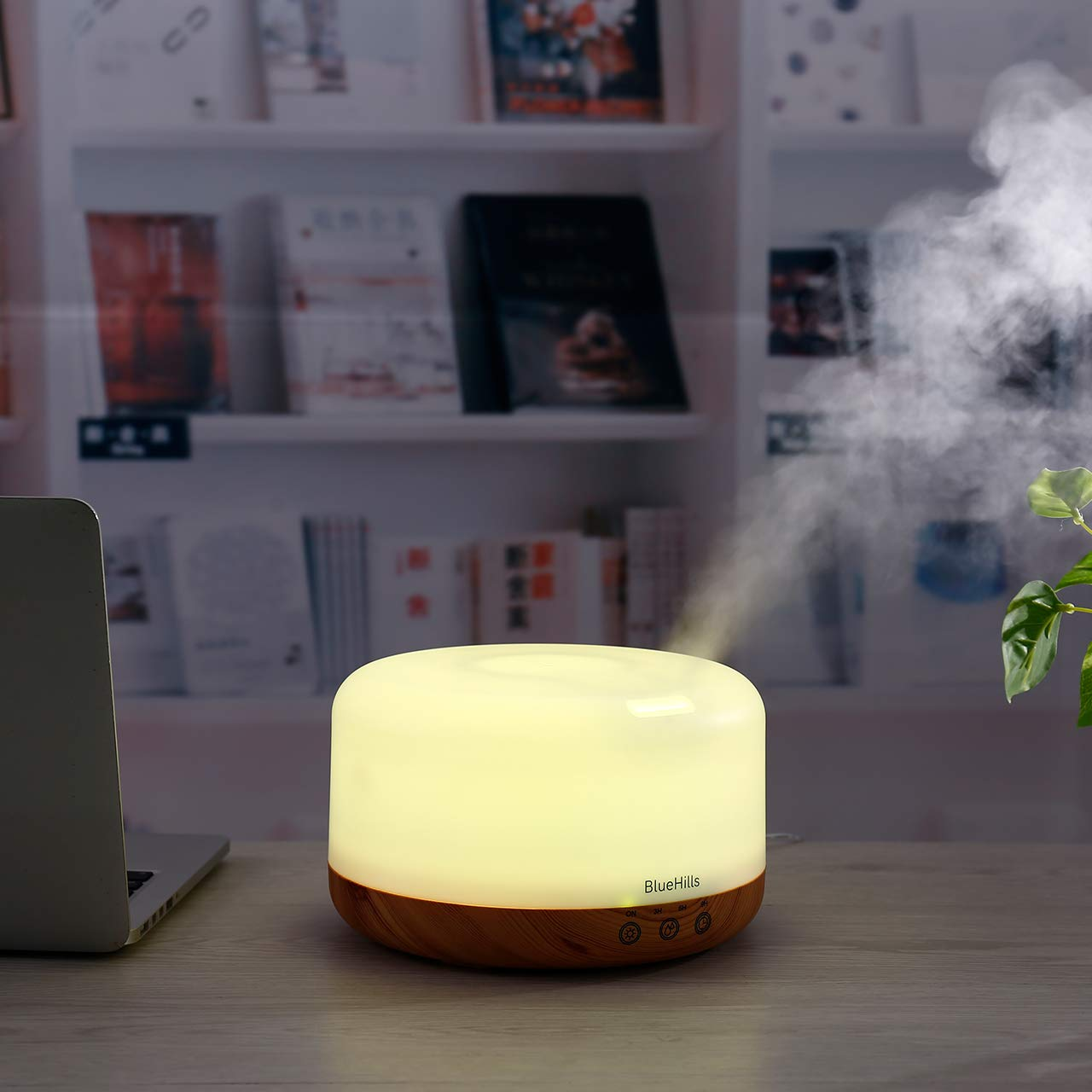 BlueHills Premium 1000 ML XL Essential Oil Diffuser Aromatherapy Humidifier with Remote Timer for Large Room Home 18 Hour Run Huge Coverage Area 1 Liter Mood Light Extra Large Capacity Wood Grain D004