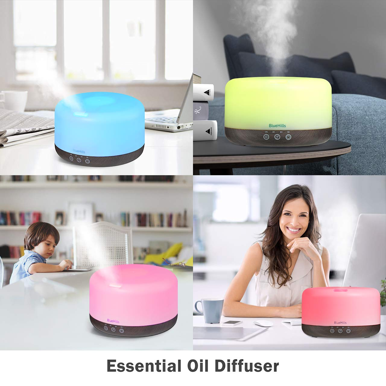 BlueHills Premium 1000 ML XL Essential Oil Diffuser Aromatherapy Humidifier with Remote for Large Room Home 18 Hour Run Huge Coverage Area 1 Liter Lights Extra Large Capacity Dark Wood Grain D002