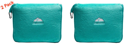 BlueHills 2-Pack Premium Soft Travel Blanket Pillow Airplane Blanket for Two in Soft Bag Pillowcase with Hand Luggage Belt and Backpack Clip, Compact Pack Large Blankets for Travel (Teal Green T012)