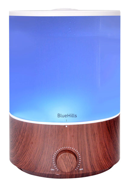 BlueHills Premium 4000 ml XL Essential Oil Diffuser 4L 4 Liter 70 hour run Humidifier Aromatherapy 1 Gallon Big Capacity High Mist Output for Large Room Home Mood Lights Dark Wood Grain E402