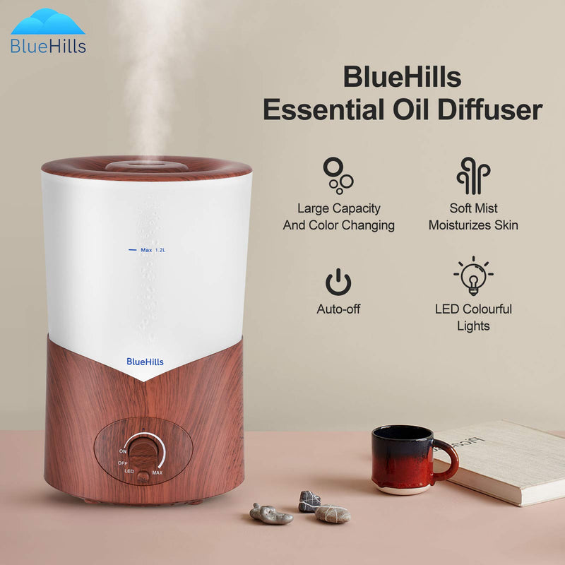 BlueHills Large 1000 ML XL Essential Oil Diffuser Aroma Humidifier 1 Liter Capacity for Big Living Room Home Baby Long Run XL Huge Coverage Area High Mist Color Changing Lights Dark Wood Grain 1L A3