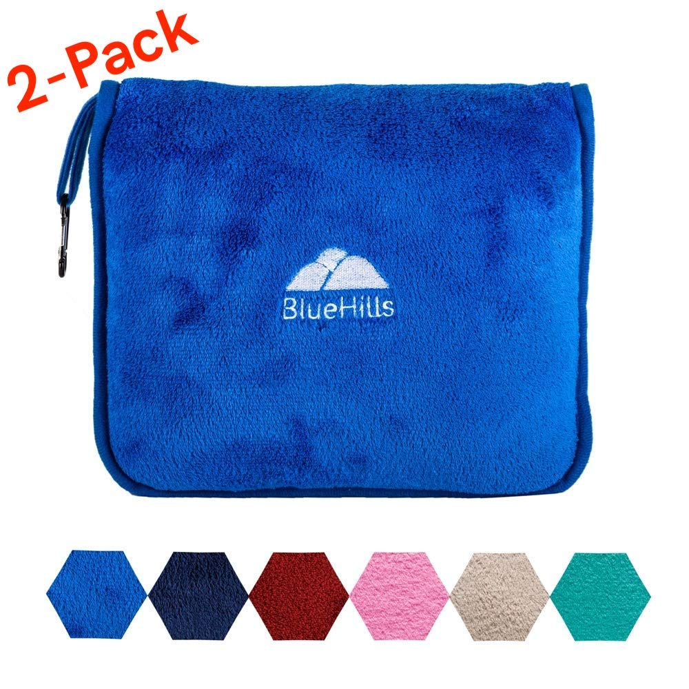 BlueHills 2-Pack Premium Soft Travel Blanket Pillow Airplane Blanket in Soft Bag Pillowcase with Hand Luggage Belt and Backpack Clip, Compact Pack Large Blanket for Any Travel Royal Blue T015