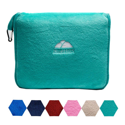 BlueHills Premium Soft Travel Blanket Pillow Airplane Blanket Packed in Soft Bag Pillowcase with Hand Luggage Belt and Backpack Clip, Compact Pack Large Blanket for Any Travel (Teal Green T006)