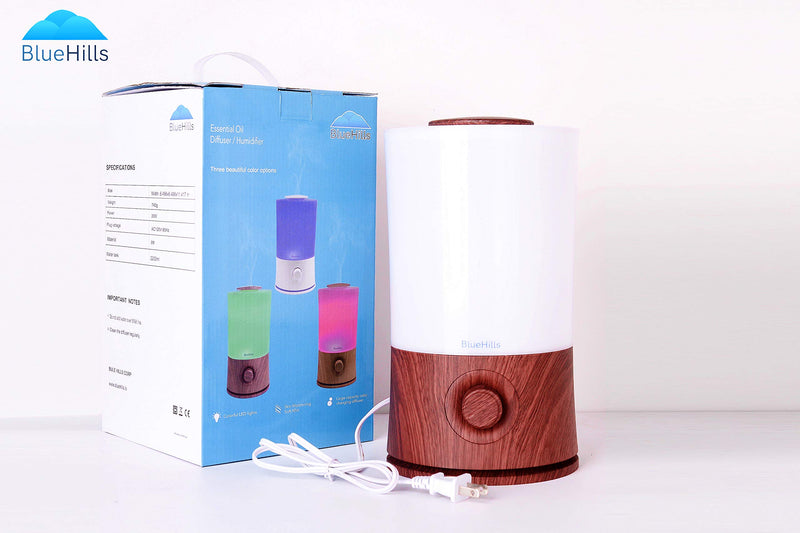 BlueHills 2000 ML Premium Essential Oil Diffuser Humidifier Extra Large Capacity - Dark Wood Grain