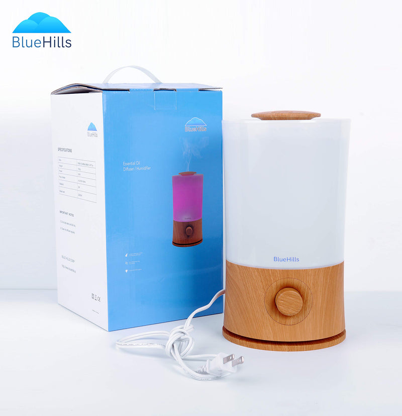 BlueHills 2000 ML Premium Essential Oil Diffuser Humidifier Extra Large Capacity - Wood Grain