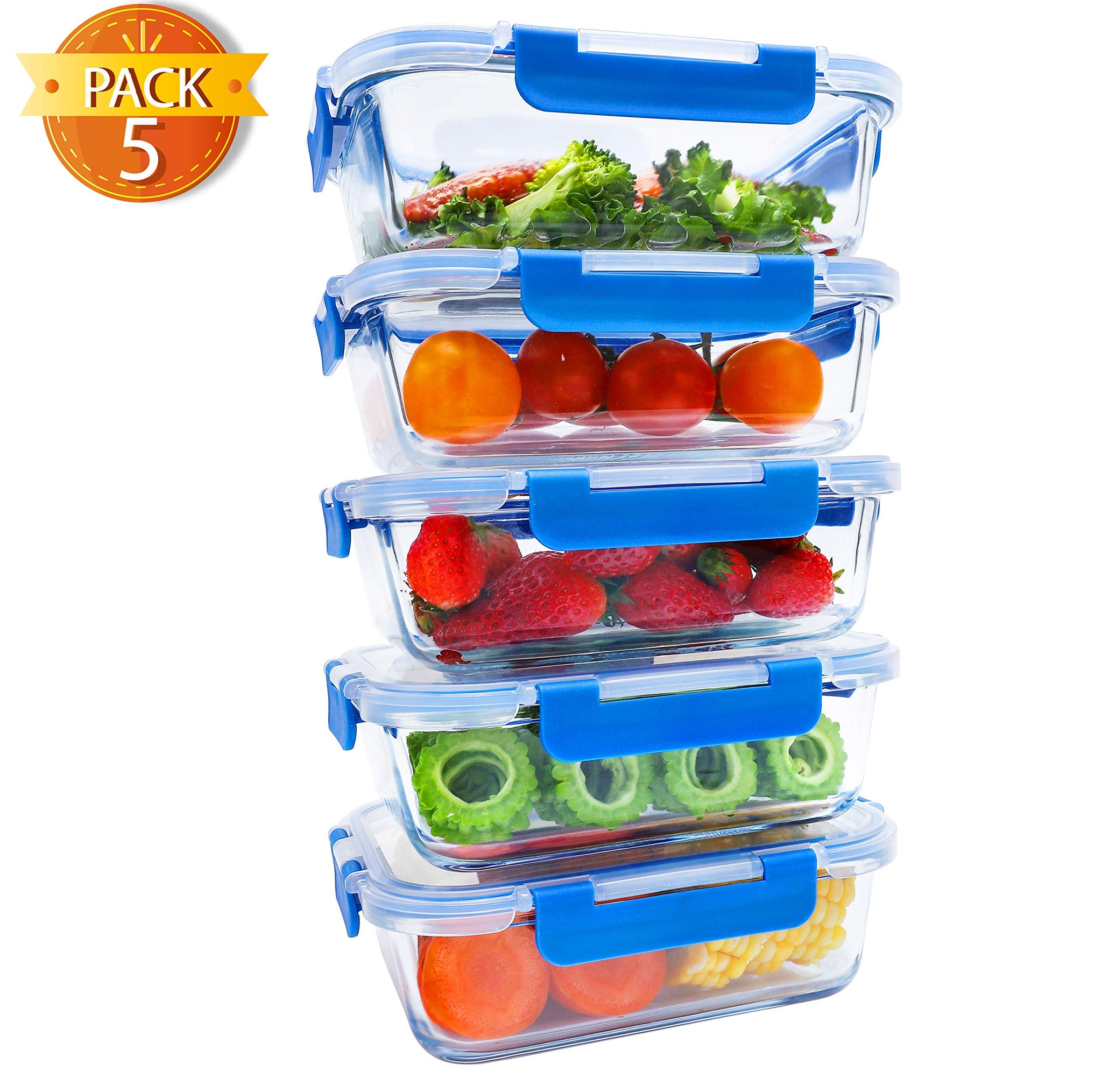 BlueHills Premium Glass Meal Prep Lunch Containers with Green Snap Lock Lids Glass Food Containers BPA-Free Oven Freezer Dishwasher Safe 5 pack set 10 pieces 4.5 Cups 36 Oz. (G001 One Compartment)