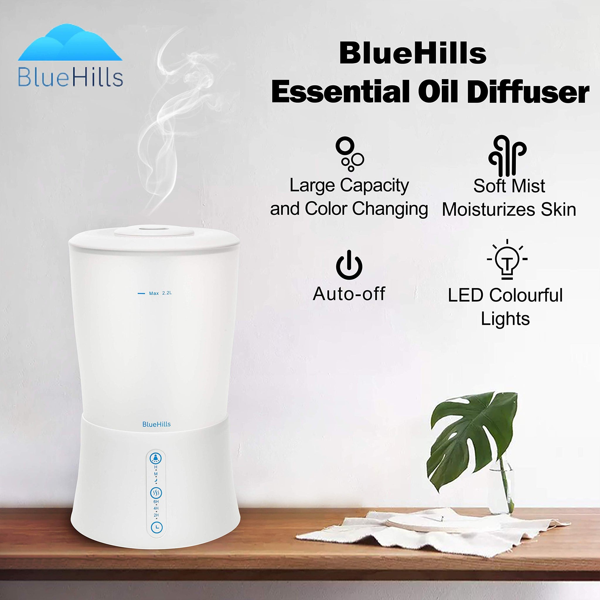 BlueHills Large 2000 ML XL Essential Oil Diffuser Premium Aromatherapy Humidifier for Big Room Home Long Run Extra Large Capacity for Huge Area 2 Liter 2L Color Changing Lights Cool High Mist White-S1