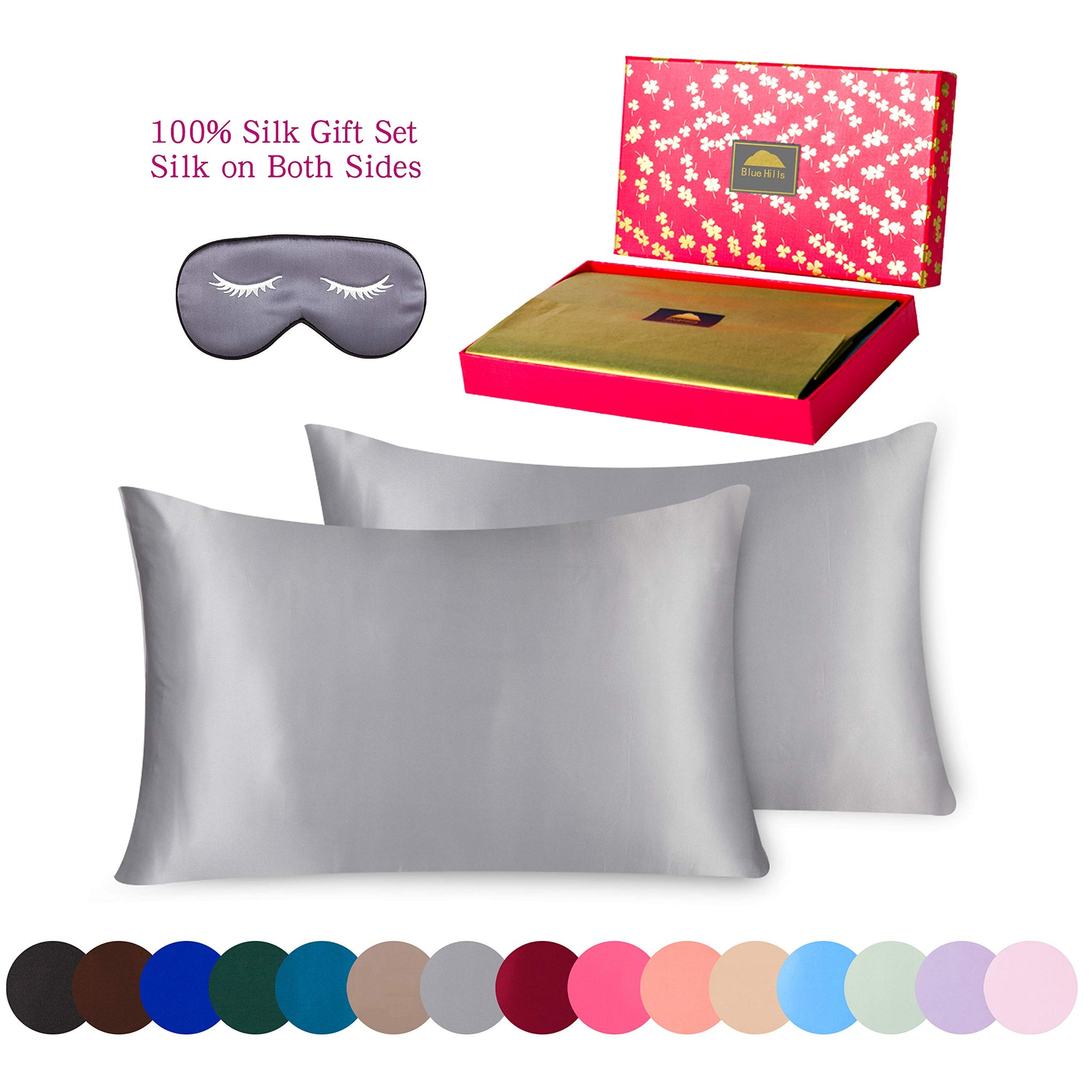 BlueHills 3 Piece Luxury Silk Gift Set 100% Pure Mulberry Natural Soft Both Sides Silk Pillowcase 2 Pack for Hair and Skin Hidden Zipper & Pure Silk Eye Mask in Gift Box Silver Grey, Standard, S019